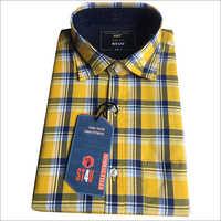 Mens Yellow Check Shirt