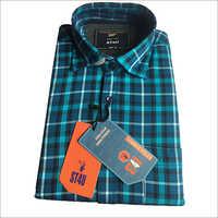 Mens Blue Cotton Check Shirt