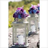 handmade white glass candle lantern