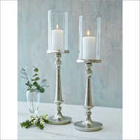 home decorative silver pillar candle holder for dinner table