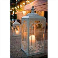 white metal decorative candle lantern