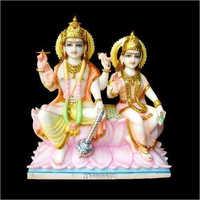 White Marble Laxmi Ji And Vishnu Ji Statue