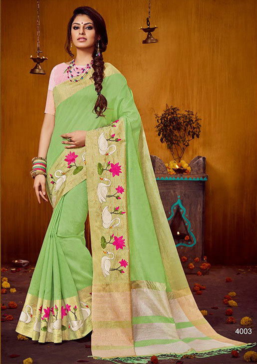 Raw silk saree embroidered border by sethnic store