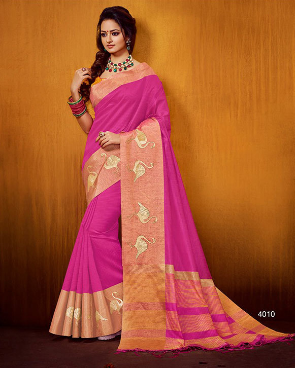 Latest Raw Silk Saree Animal Embroidered Border
