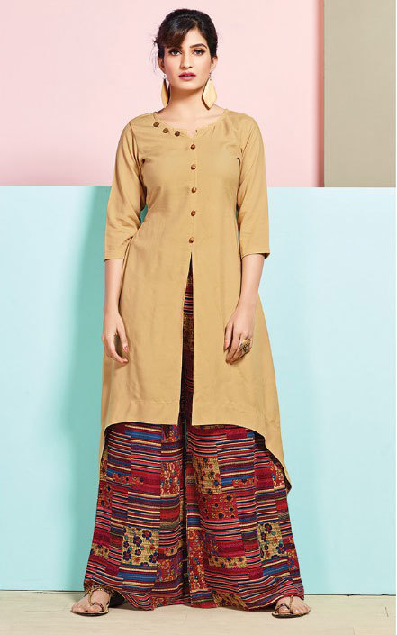 Multicolour Rayon printed stylish kurti