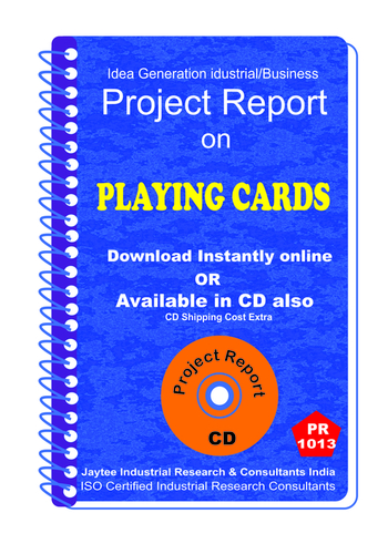 Playing Cards manufacturing Project Report eBook