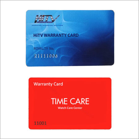 Plastic Warranty Cards