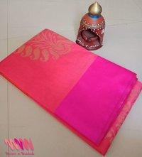 Pink silk saree