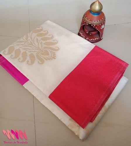 White Chanderi Saree