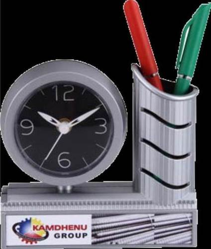 KAMDHENU TABLE CLOCK WITH PEN STAND