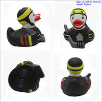 Rubber duck with black hair and sunglasses