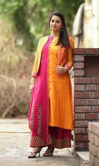 Block Printed Anarkali Suit