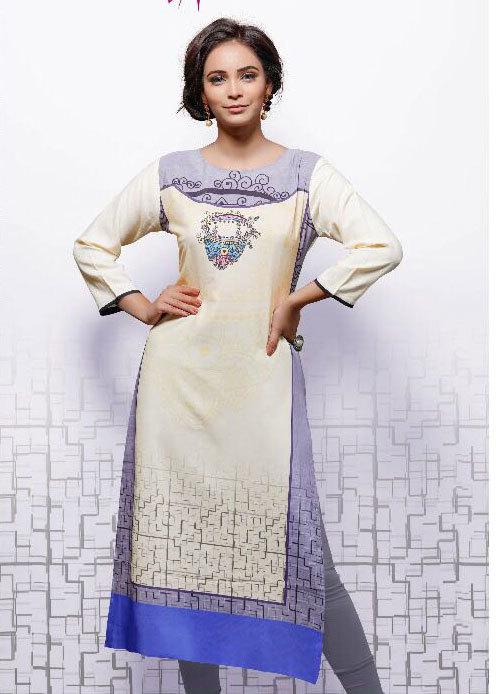 Cotton Slub Embroidery Moti Work Kurti