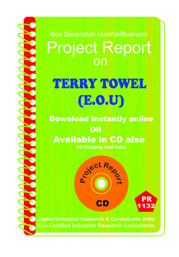 Terry Towel (E.O.U) manufacturing Project Report ebook
