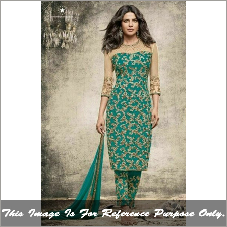 Ladies Semistitch Designer Green Suit