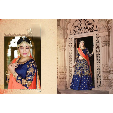 Ladies Semi Stitched Heavy Zardosi Work Navy Blue Lehenga