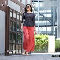 Khadi Designer Tops With Capri And Palazzo
