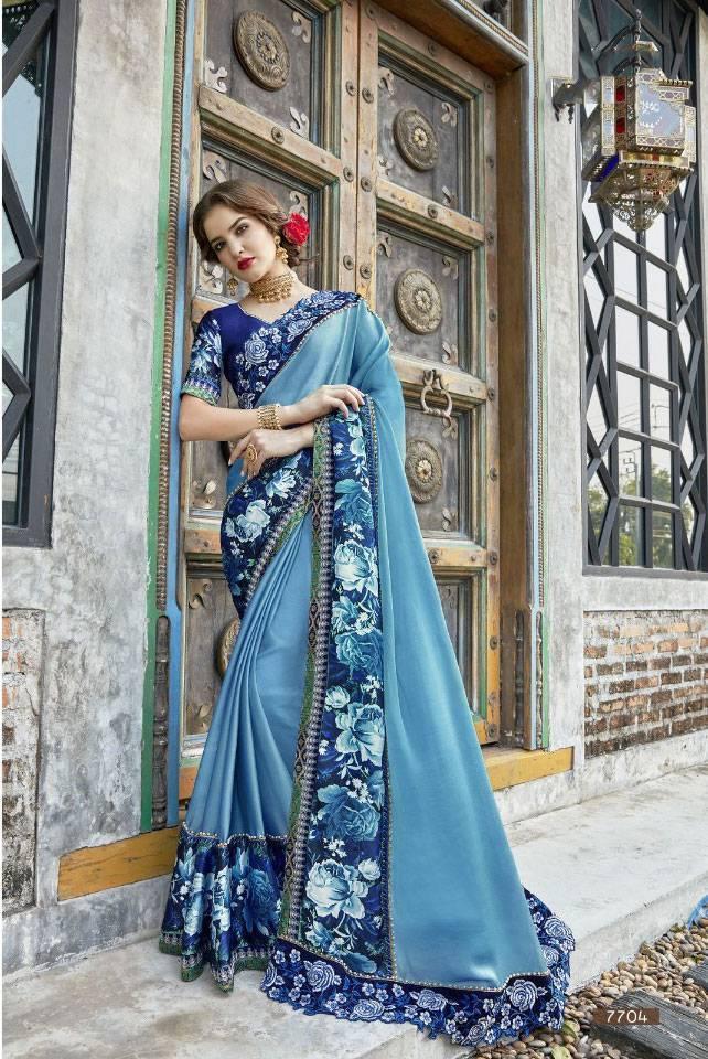 Sethnic new deisgner saree 7702 green with heavy silk blouse