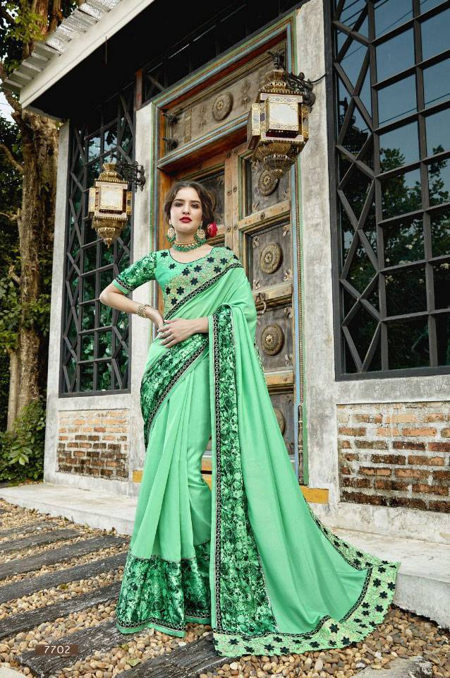 Sethnic new deisgner saree 7702 green with heavy silk blouse