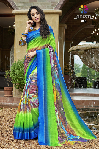 Digital Printed Work Saree