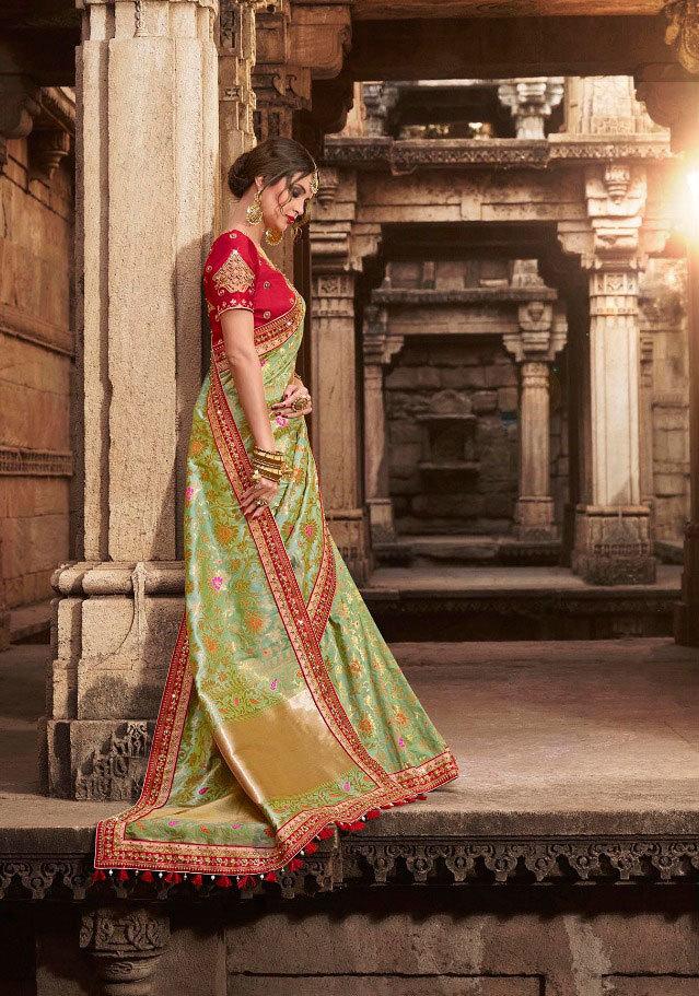 sethnic monalisa saree dealer 802 peach art silk with designer blouse