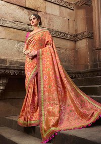 sethnic monalisa saree dealer 802 peach art silk with designer blouse