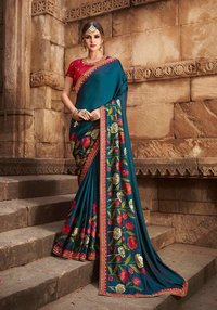 sethnic  saree dealer 802 peach art silk with designer blouse