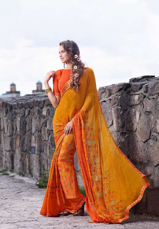 Sethnic border work printed saree catalogs wholesale prices
