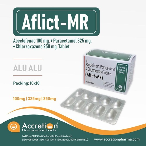Aceclofenac 100 mg +Paracetamol 325mg+Chlorzoxazone 250mg