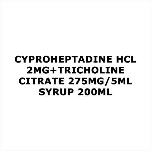 Cyproheptadine HCL 2mg+Tricholine citrate 275mg 5ml syrup 200ml