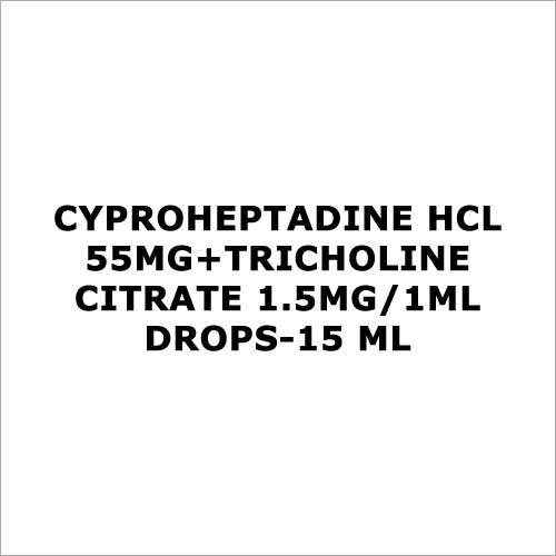 Cyproheptadine HCL 55mg+Tricholine citrate 1.5mg 1ml Drops-15 ml