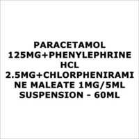 Paracetamol 125mg+Phenylephrine HCL 2.5mg+Chlorpheniramine Maleate 1mg 5ml Suspension - 60ml