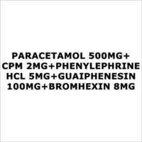 Paracetamol 500mg+CPM 2mg+Phenylephrine HCL 5mg+Guaiphenesin 100mg+Bromhexin 8mg