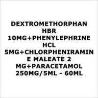 Dextromethorphan HBR 10mg+Phenylephrine HCL 5mg+Chlorpheniramine maleate 2 mg+Paracetamol 250mg 5ml - 60ml