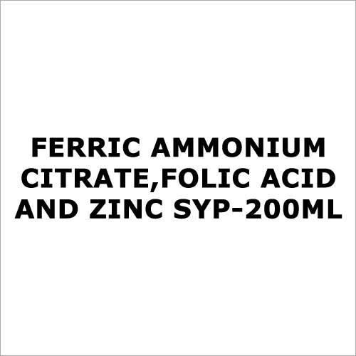 Ferric Ammonium Citrate,Folic acid and zinc syp-200ml