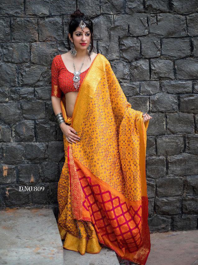 Sethnic patola silk saree wholesale dealer in surat 802 green