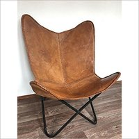 Iron Powder Coated Leather Butterfly Chair