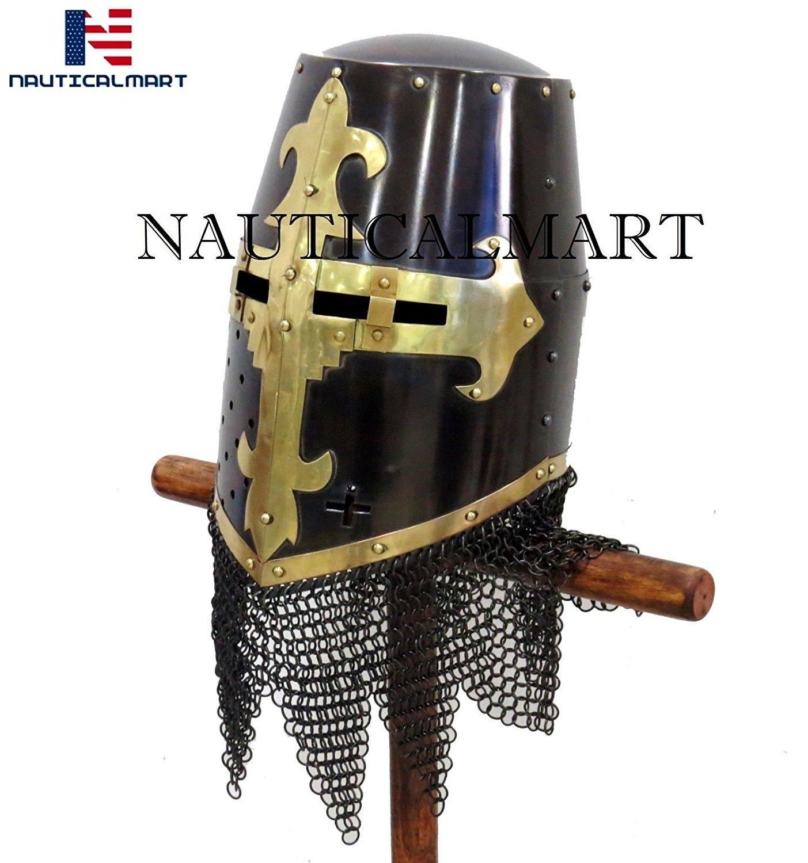 NAUTICAL MART Knight Crusader Armour Helmet Wearable Halloween Costume Larp/Reenactment