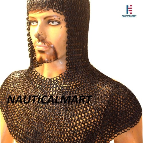 Nauticalmart Larp Armor Flat Riveted Solid Ring Chain Mail Coif Steel 9 Mm Large Blackend wearable Armour