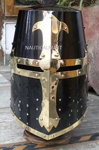Medieval Knight Crusader Helmet Wearable Halloween Costume - Black Antique