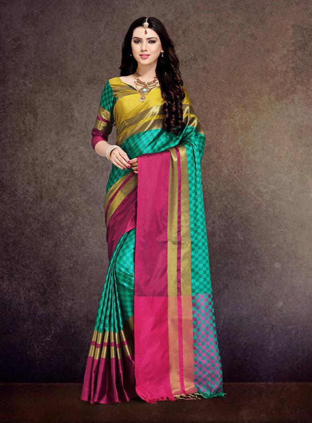 Buy Aura Ahanti Pure Cotton Silk saree online  at Sethnic wholesale in Surat