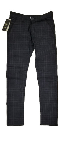 Black Slim Fit Checks Trouser