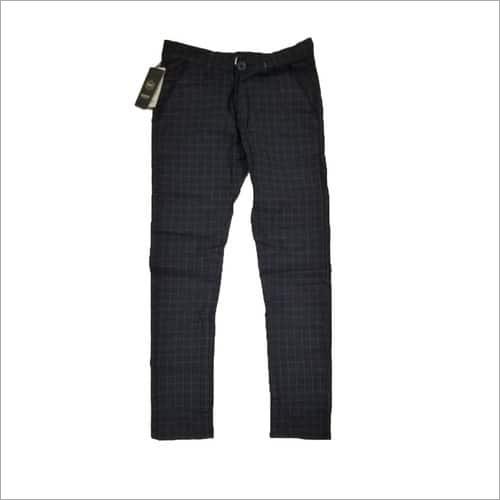 Black Slim Fit Checks Trouser