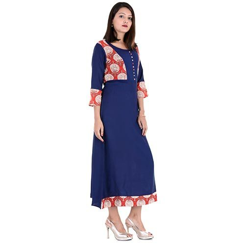 Cotton Blue Jacket Print Kurti