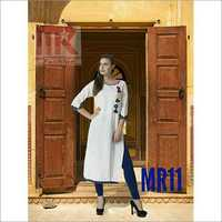 Cotton Hand Work White Kurti