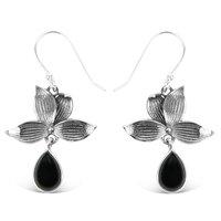 925 Sterling Silver Black Onyx Fancy Designer Earrings