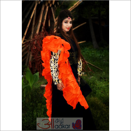 Ladies Navy Blue Handloom Cotton Silk Saree With Orange Frill Border