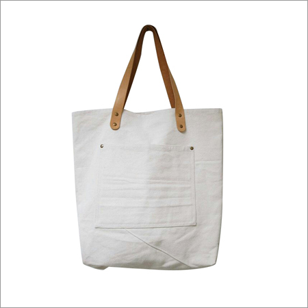 Cotton Pocket Bag with Leather Handle