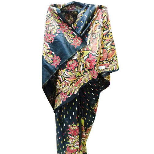 Bangalore Silk Kantha Stitch Saree