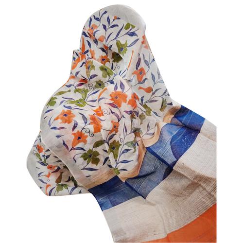 Linen Block Print Saree